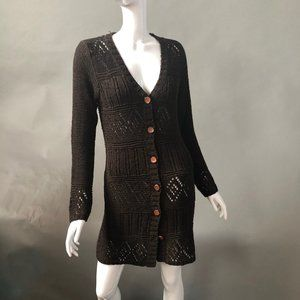 Lifestylist Look Sweaters - Open Weave Brown Cardigan Sweater Size Med